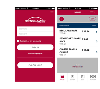 Friends and Family Credit Union Enhanced Mobile Banking screenshots