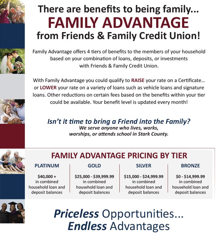 Friends and Family Credit Union Family Advantage offers four tiers of benefits to members of your household based on your combination of loans, deposits, and investments with the credit union.